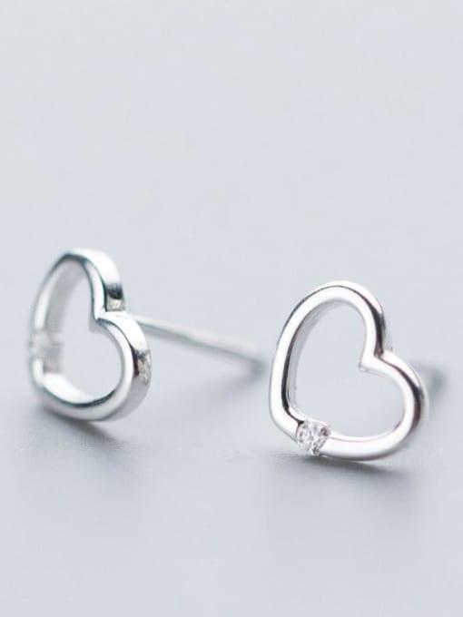 Rosh 925 Sterling Silver Hollow Heart Minimalist Stud Earring
