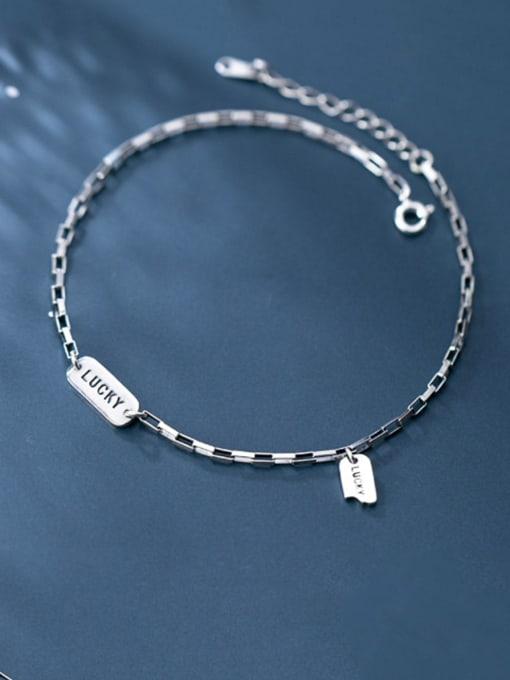 Rosh 925 Sterling Silver  Minimalist  Letter  Anklet