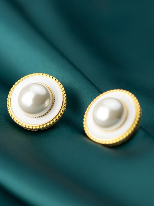 Rosh 925 Sterling Silver Imitation Pearl Round Trend Stud Earring