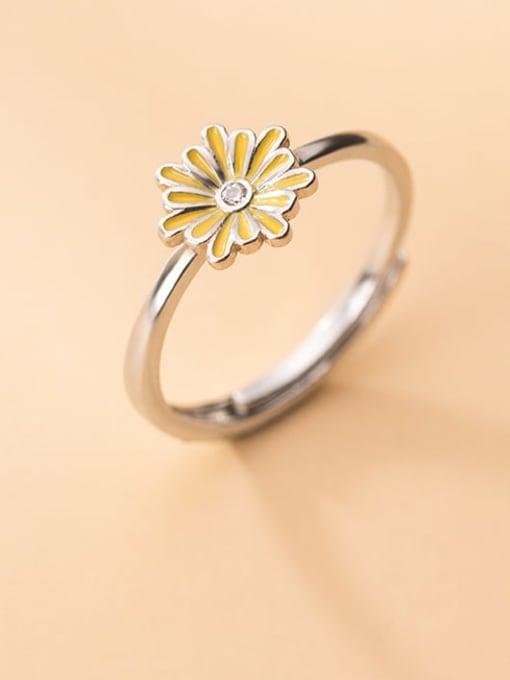 Rosh 925 Sterling Silver Enamel Flower Cute Free Size Band Ring 2