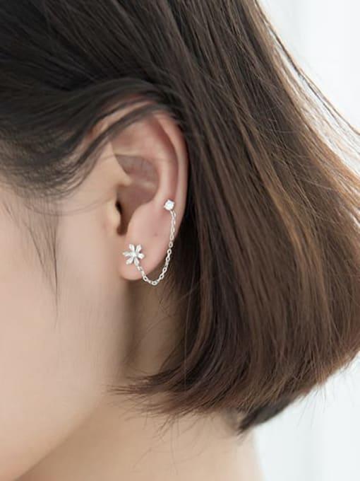 Rosh 925 Sterling Silver Cubic Zirconia  Flower Minimalist Threader Earring 1