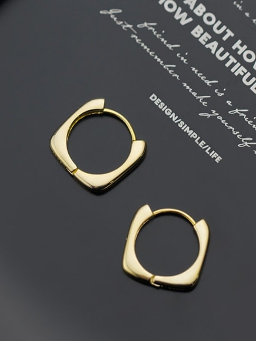 Rosh 925 Sterling Silver Hollos Geometric Minimalist Huggie Earring 2