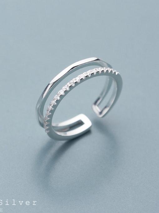 Rosh 925 Sterling Silver Rhinestone White Irregular Minimalist Free Size Band Ring 2