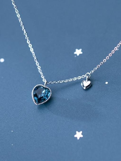 Rosh 925 Sterling Silver Blue Swarovski Crystal Heart-shaped pendant  Necklace 2