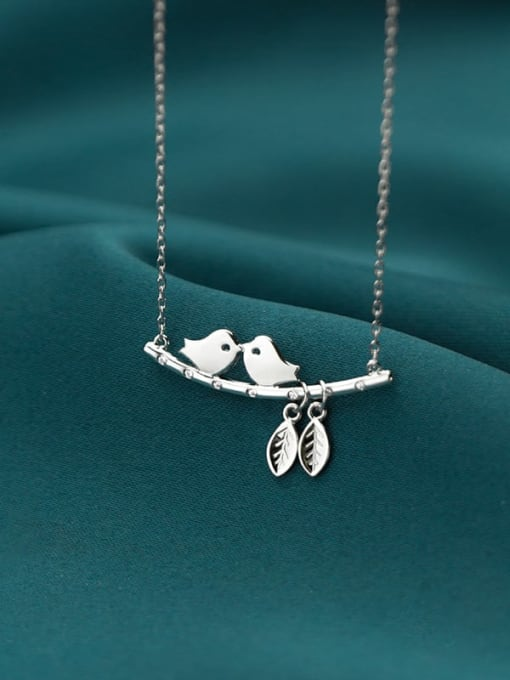 Rosh 925 Sterling Silver Cute twig bird Necklace