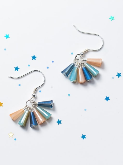 short 925 Sterling Silver Cubic Zirconia Multi Color Geometric Trend Hook Earring