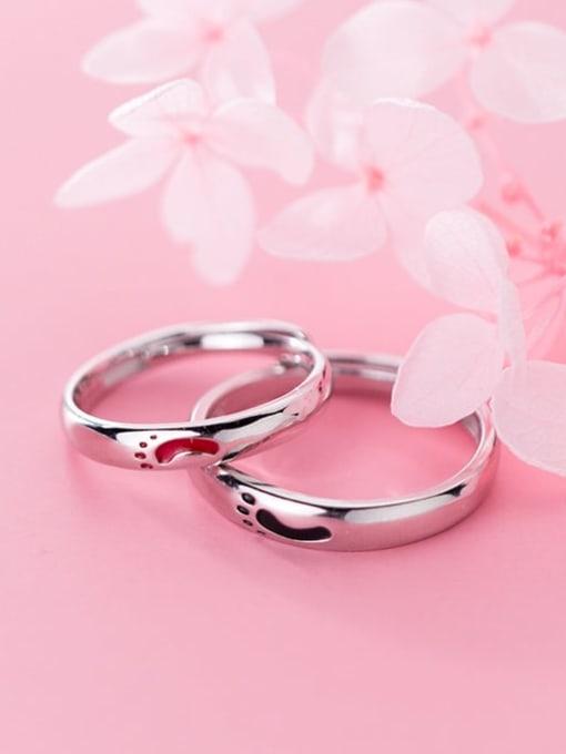 Rosh 925 Sterling Silver Enamel Minimalist  Footprint Free Size Ring 2
