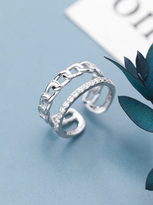 Rosh 925 Sterling Silver Minimalist Diamond personality chain double layer Free Size Ring 2