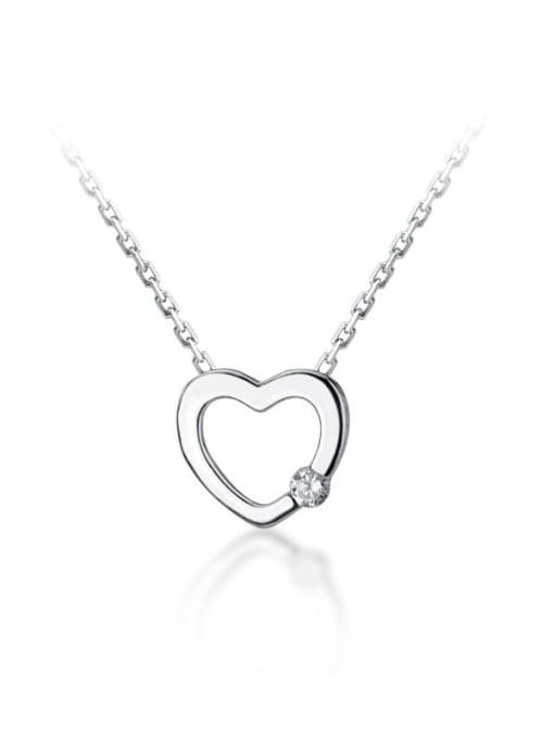Rosh 925 Sterling Silver Rhinestone Fashion simple heart  Necklace