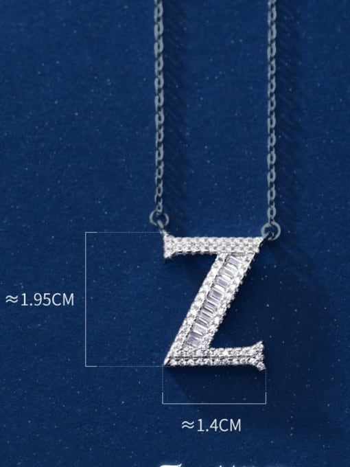 Letter Z 925 Sterling Silver Simple Fashion full diamond letters pendant  Necklace