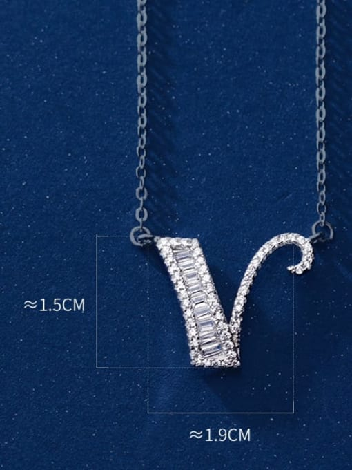 Letter V 925 Sterling Silver Simple Fashion full diamond letters pendant  Necklace