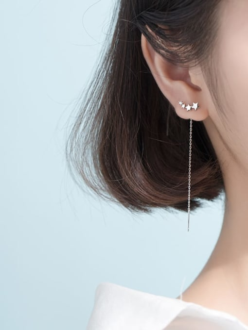 Rosh 925 Sterling Silver Tassel Trend Threader Earring 1
