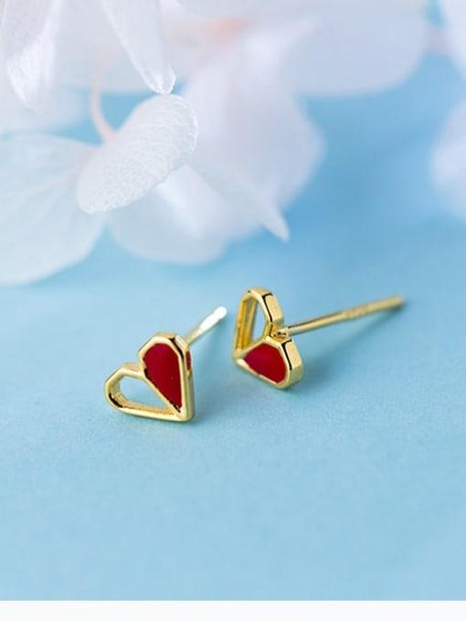 Rosh 925 Sterling Silver Red Enamel Heart Minimalist Stud Earring 2