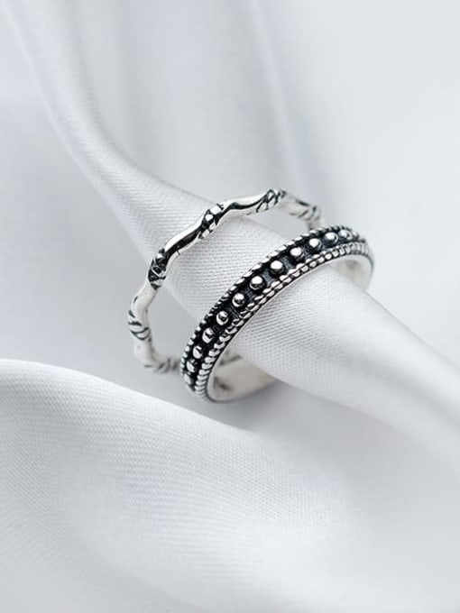 Rosh 925 Sterling Silver Vintage knot Free Size Midi Ring 0