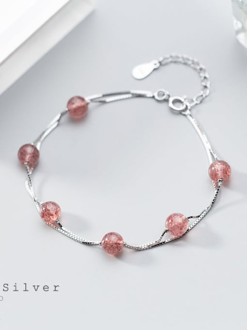 Rosh 925 Sterling Silver Minimalist Double Layer Strawberry Crystal Bracelet Strand Bracelet 2