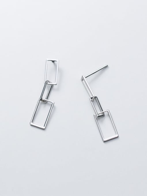 Rosh 925 Sterling Silver  Hollow Geometric Minimalist Drop Earring 3