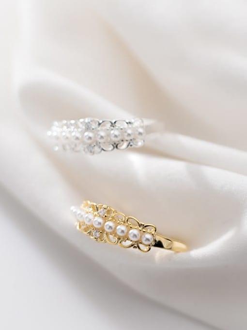 Rosh 925 Sterling Silver Imitation Pearl White Irregular Cute Free Size Ring 2