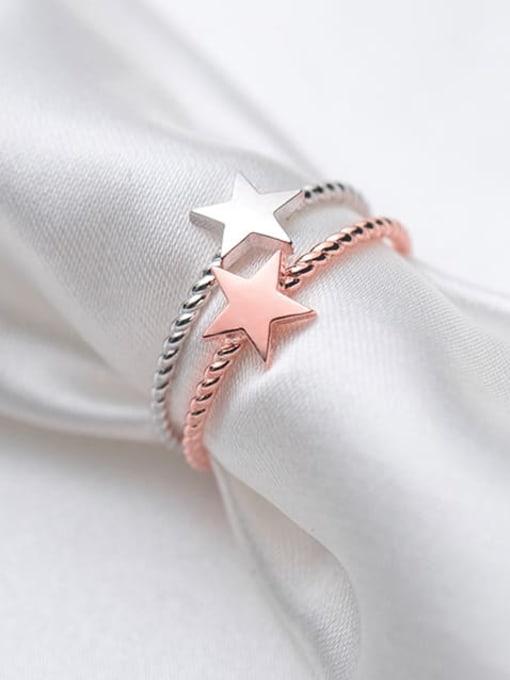 Rosh 925 Sterling Silver Minimalist Fashion pentagram couple Midi Ring 0