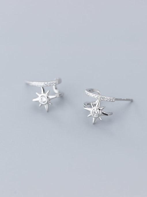 Rosh 925 Sterling Silver Cubic Zirconia  Flower Minimalist Clip Earring 1