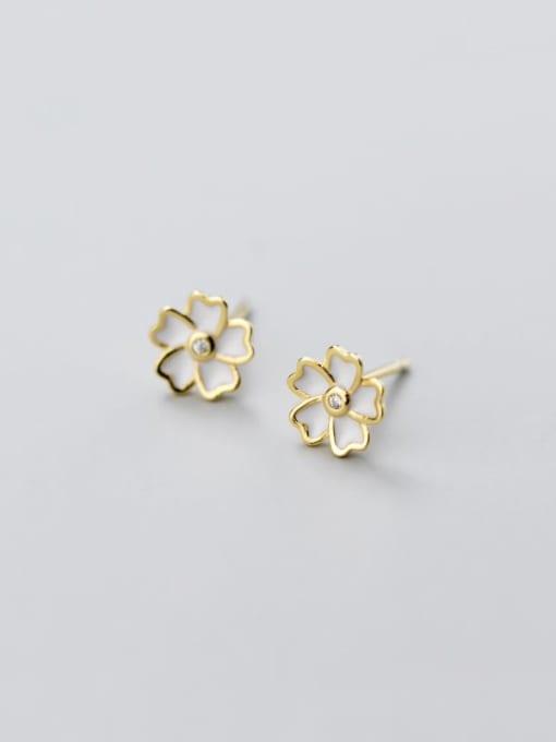 Rosh 925 Sterling Silver Shell White Flower Minimalist Stud Earring 2