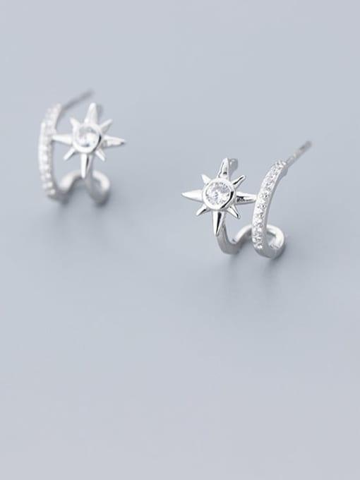 Rosh 925 Sterling Silver Cubic Zirconia  Flower Minimalist Clip Earring 0