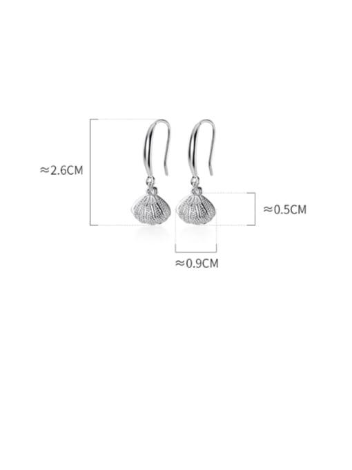Rosh 925 Sterling Silver Imitation Pearl   Simple Fashion Shell Shape Hook Earring 2