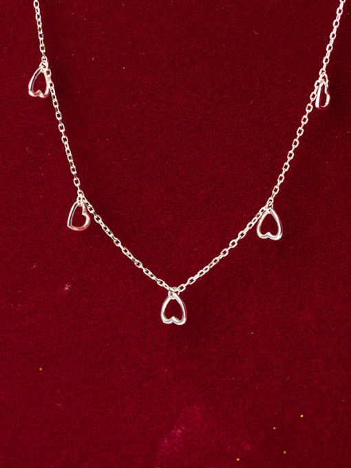Rosh 925 Sterling Silver Minimalist Hollow Heart Pendant  Necklace