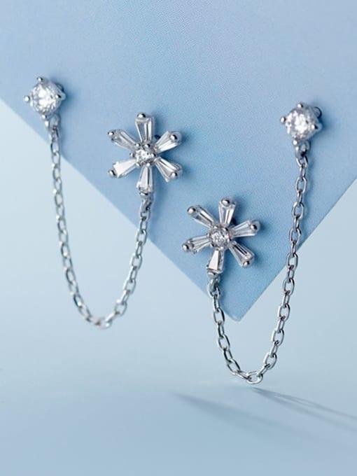 Rosh 925 Sterling Silver Cubic Zirconia  Flower Minimalist Threader Earring 3
