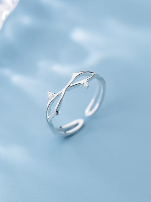 Rosh 925 Sterling Silver  Minimalist Tree branch Free Size  Ring 0