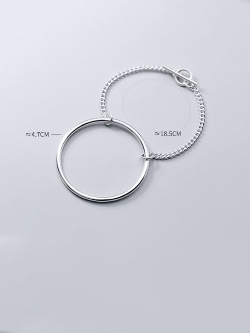 Rosh 925 Sterling Silver Simple hollow Round Chain  Bracelet 2