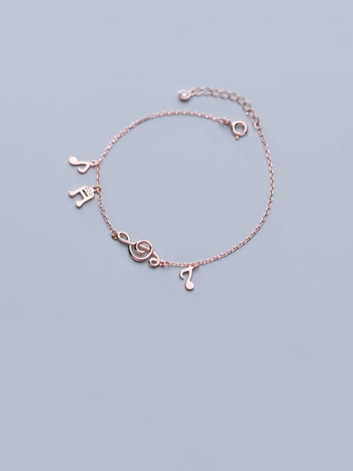 Rosh 925 Sterling Silver  Minimalist  Musical notes with diamonds Link Bracelet