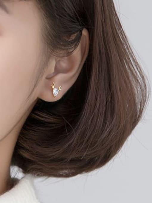 Rosh 925 Sterling Silver Cubic Zirconia Deer Cute Stud Earring 1