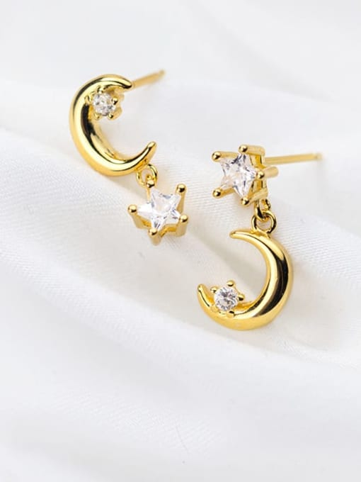 Rosh 925 Sterling Silver Cubic Zirconia Moon Minimalist Drop Earring