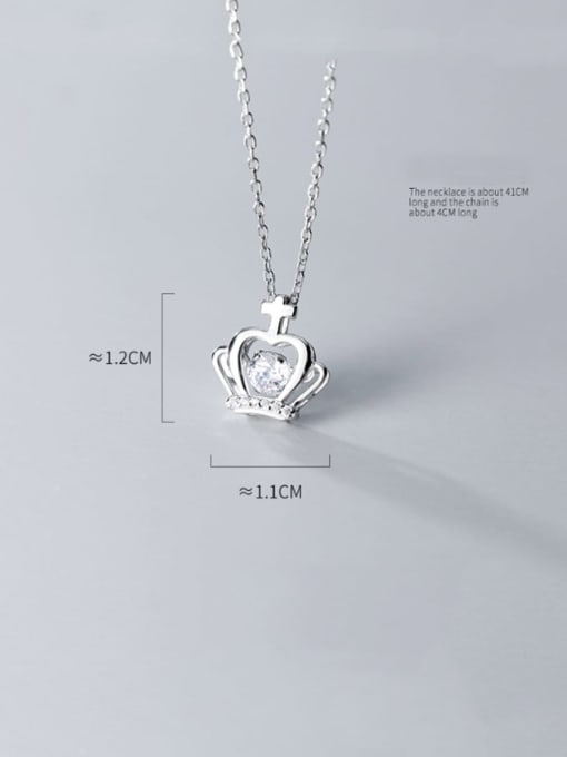 Rosh 925 sterling silver cubic zirconia Fashion simple cross crown necklace 2