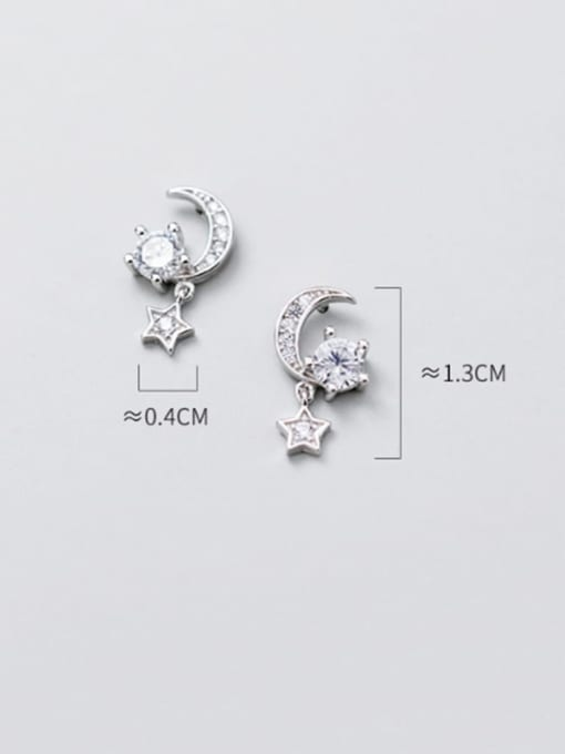 Rosh 925 Sterling Silver Cubic Zirconia  Star Moon Dainty Stud Earring 2