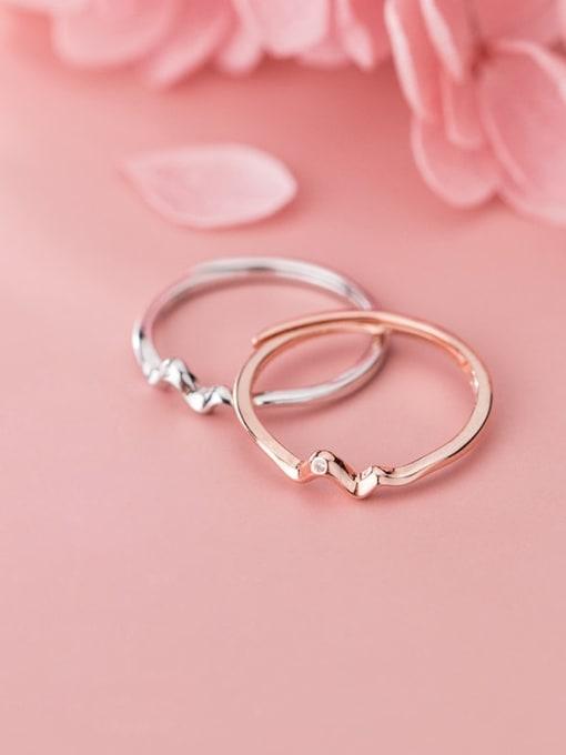 Rosh 925 Sterling Silver Irregular Minimalist Free Size Ring