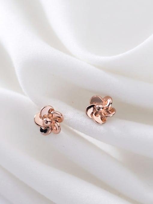 Rosh 925 Sterling Silver Rhinestone Flower Minimalist Stud Earring 1