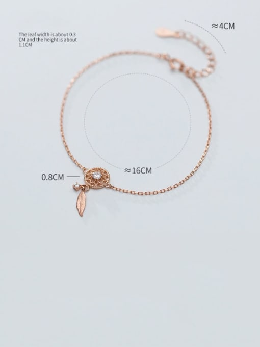 Rosh 925 Sterling Silver Trend Hollow diamond leaves Bracelet 1