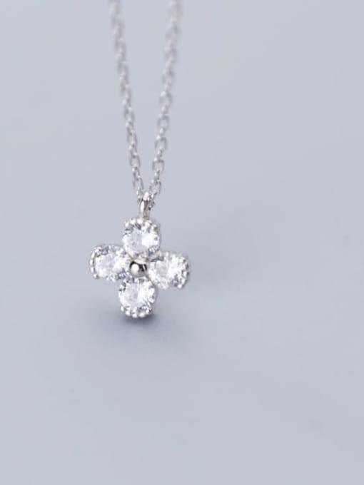 Rosh 925 Sterling Silver Minimalist Cubic Zirconia  Flower  Necklace 2