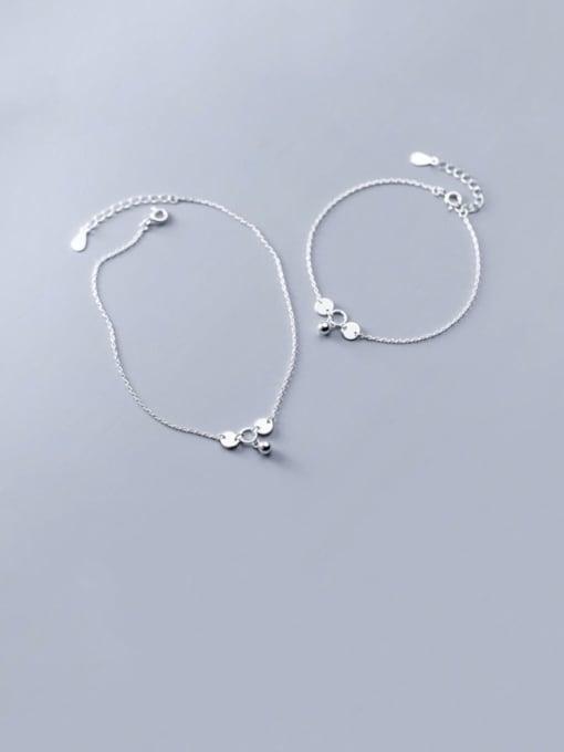 Rosh 925 Sterling Silver Bead Bell Minimalist Link Bracelet