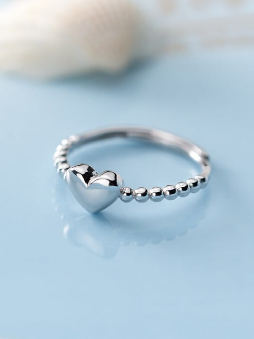 Rosh 925 Sterling Silver Bead Smooth Heart Minimalist Band Ring 1