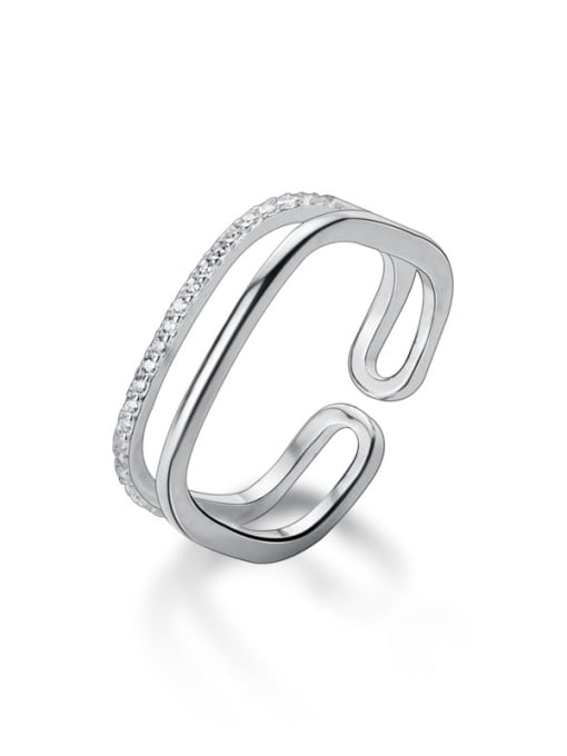 Rosh 925 Sterling Silver Rhinestone  Geometric Minimalist Free Size Band Ring 4