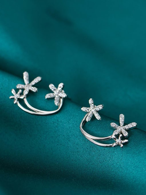 Rosh 925 Sterling Silver simple diamond multi flower Dainty Stud Earring