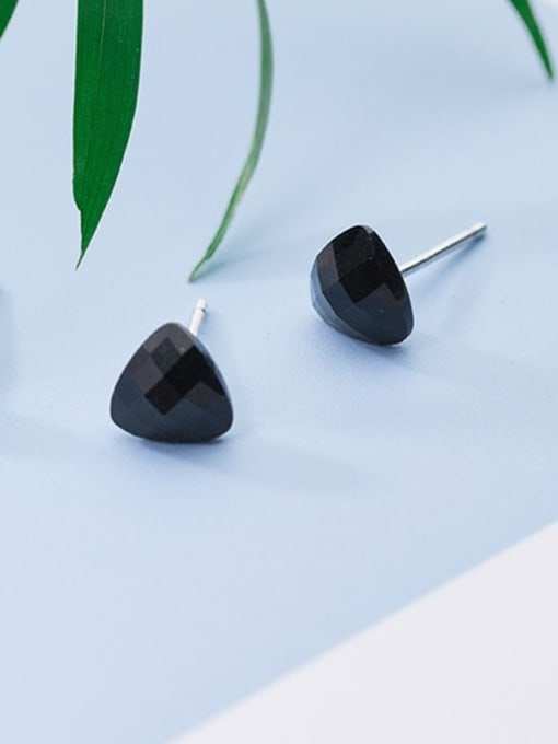 Rosh 925 Sterling Silver Cubic Zirconia Black Geometric Minimalist Stud Earring