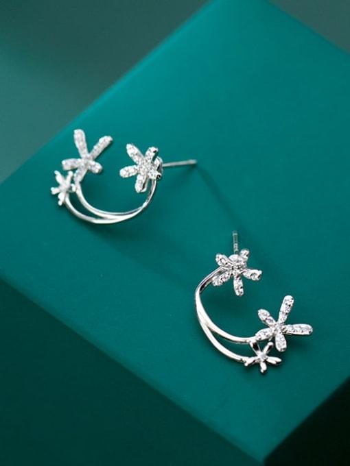 Rosh 925 Sterling Silver simple diamond multi flower Dainty Stud Earring 1