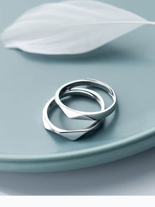 Rosh 925 Sterling Silver Geometric Minimalist Couple Ring 2