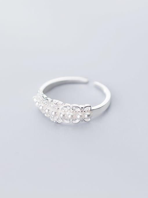 Rosh 925 Sterling Silver Imitation Pearl White Irregular Cute Free Size Ring 3