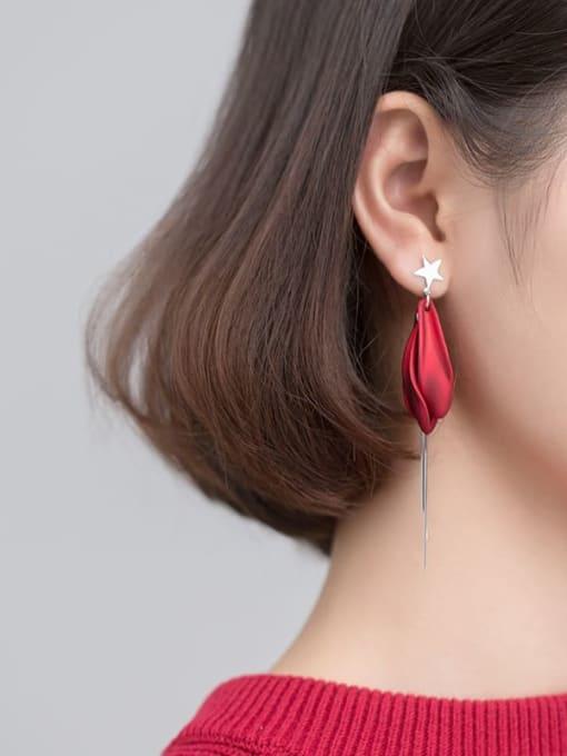 Rosh 925 Sterling Silver  Enamel Flowers Tassel Trend Hook Earring 1