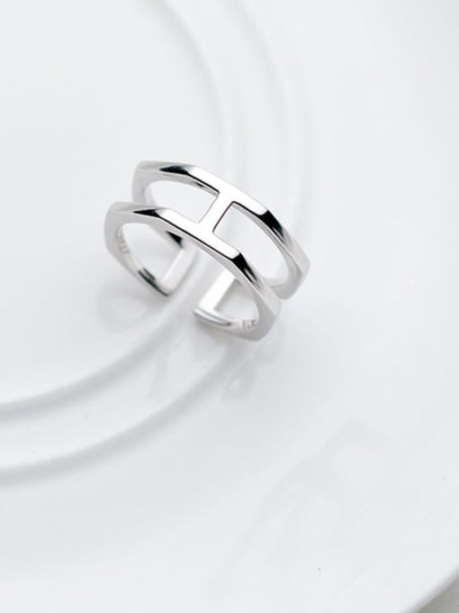 Rosh 925 Sterling Silver Minimalist  Double Layer Free Size Ring 0