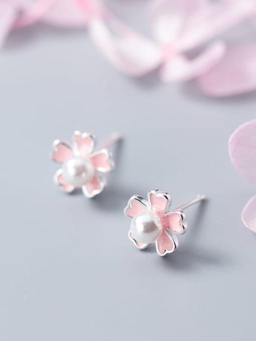 Rosh 925 sterling silver imitation pearl  enamel flower cute stud earring 3